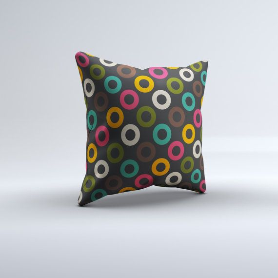 Modern Throw Pillow. Pink, Yellow, Green, Teal. Available in 14x14, 16x16, 18x18, 20x20,  26x26