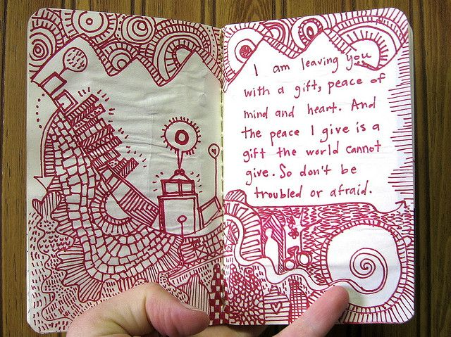 An idea has formed! Make a journal designated specifically for doodles based around a quote. Just write an interesting, important, nonsensical, etc quote that fits your current mood, then doodle around it! Yeah, brain, I like the way you think!