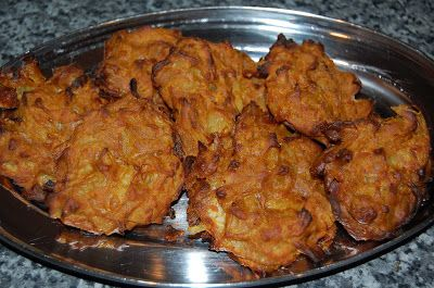 Chef Jeenas food recipes: Onion Bhaji Recipe vegan gluten free baked not fried healthy. note to self - I would use bombay potato spice mix to flavour as a cheat way to get the flavour in.