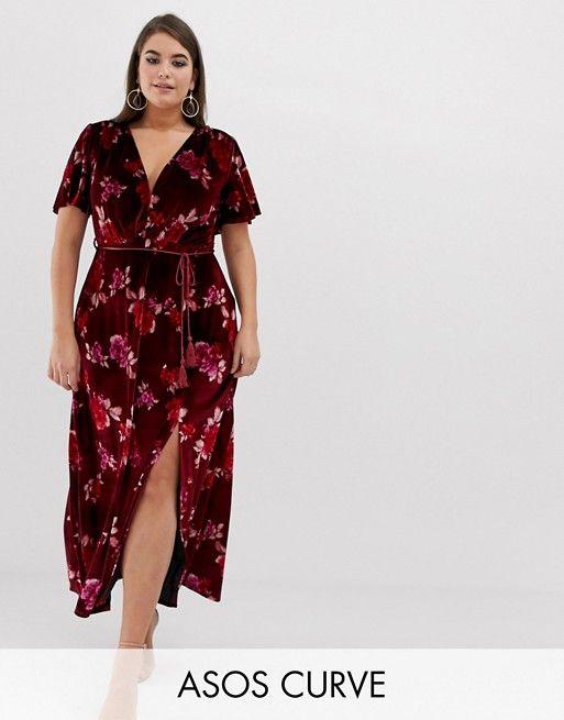 30040105930 DESIGN Curve velvet floral maxi dress with tassel belt in 2019 ...