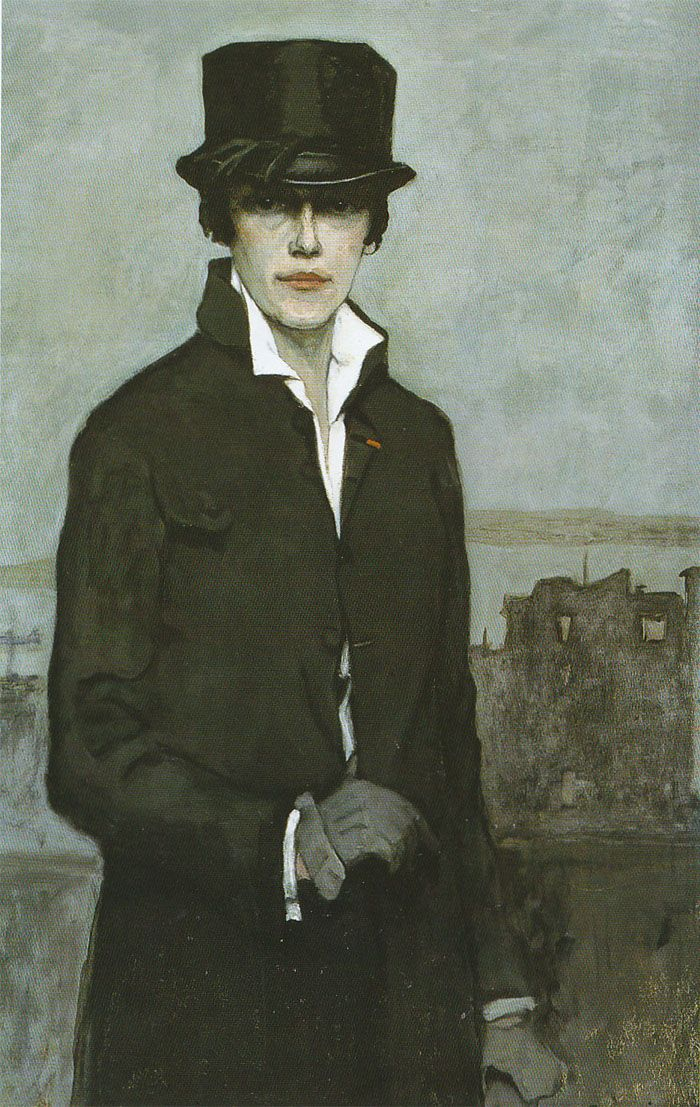 This portrait by Romaine Brooks is much more of a statement then you may originally think. Read why & see the outfit inspired by this painting here:    http://www.theclosetfeminist.ca/inspired-by-art-herstory-romaine-brooks-self-portrait-1923/    Inspired by Art Herstory: Romaine Brooks' 'Self-Portrait' (1923). | The Closet Feminist: Selfportrait, Artists, Self Portraits, Romainebrooks, Self Portrait 1923, Brooks 1923, Painting