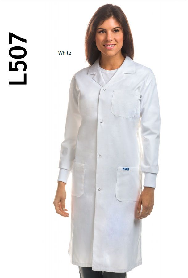 L507  Full-Length Unisex Lab Coat  The essential for every medical professional. This Full-Length Unisex Lab Coat features a snap button front closure with Knitted Cuffs, two patch pockets, one chest pocket and side access slits. This lab coat is also available with a standard button front closure