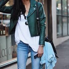 Znalezione obrazy dla zapytania leather coat green