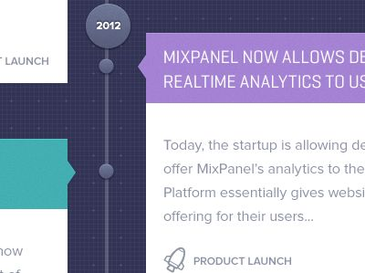 Timeline / homepage about us design for Mixpanel  by Julien Renvoye