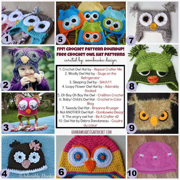 Oombawka Design *Crochet*: Time for our weekly FPF Crochet Roundup! Free Crochet Owl Hat Patterns!