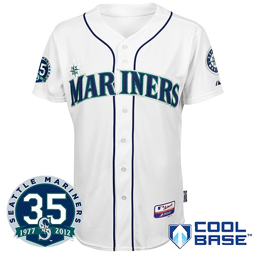 Seattle #Mariners Authentic Home Cool Base Jersey w/ 35th Anniversary Patch #FANtasticFridayFantasticfriday Prizes, Seattle Mariners, Patches Fantasticfriday, Based Jersey, Seattle Marines, Marines Authentic, Anniversaries Patches, 35Th Anniversaries
