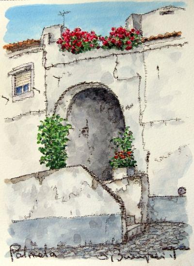 """パルメラ( Palmela )の赤いバラ- 絵画販売・美styleアート""""高橋文平 ヨーロッパの街角から"""""""
