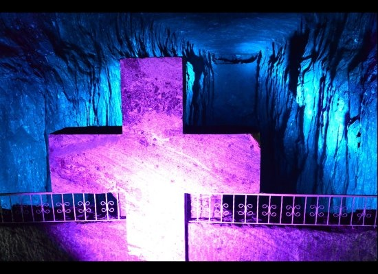 I would like to draw your attention to one of Colombia's many hidden treasures: The Salt Cathedral of Zipaquirá.    Located approximately an hour north of Bogotá via bus, private car or tourist train, the Salt Cathedral is the centerpiece of a halite mine that has been active since the 5th century B.C.    Today, workers still excavate salt in the sections of the mountain above and below the Salt Cathedral, which sits over 500 feet below the ground. / huffingtonpost.com