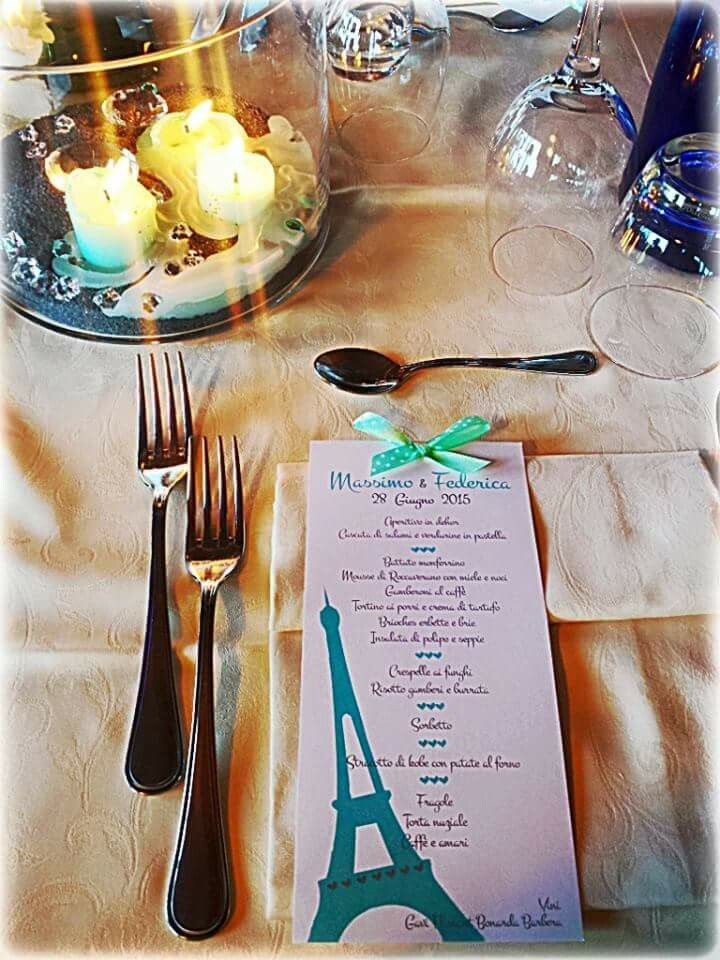 Paris mon amour!!!matrimonio tema Parigi e Tiffany ...#wedding #menù #Paris #nozze