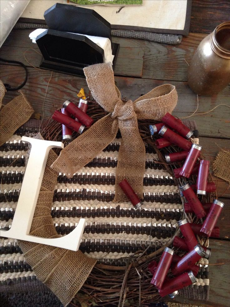 Shotgun shell and burlap wreath