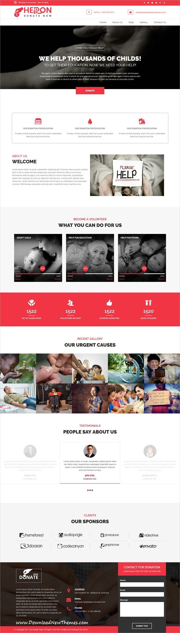 Heron is clean and modern design responsive multipurpose bootstrap HTML #theme for #Charity #donation and nonprofit organizations website with 18+ niche homepage layouts to live preview & download click on Visit 👆
