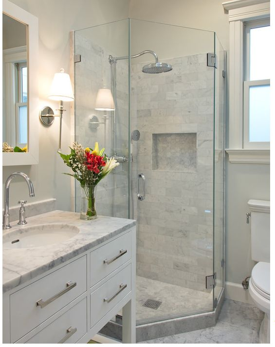 I like the grey subway tile walls with the grey hex inlay and flooring, too.  Maybe good for the basement bathroom?