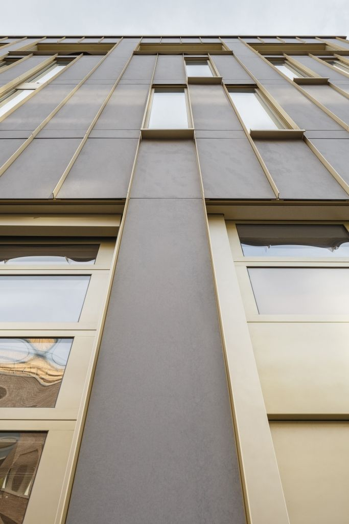 EQUITONE facade panels. facade joint detail filled with copper T-profile. #architecture #material #facade www.equitone.com