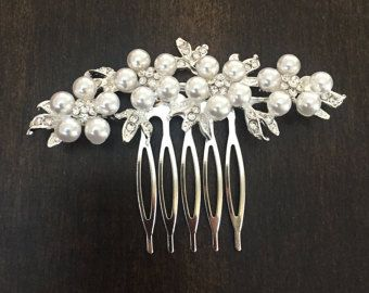 Vintage Inspired pearls bridal hair comb Cubic by JewelAtelier