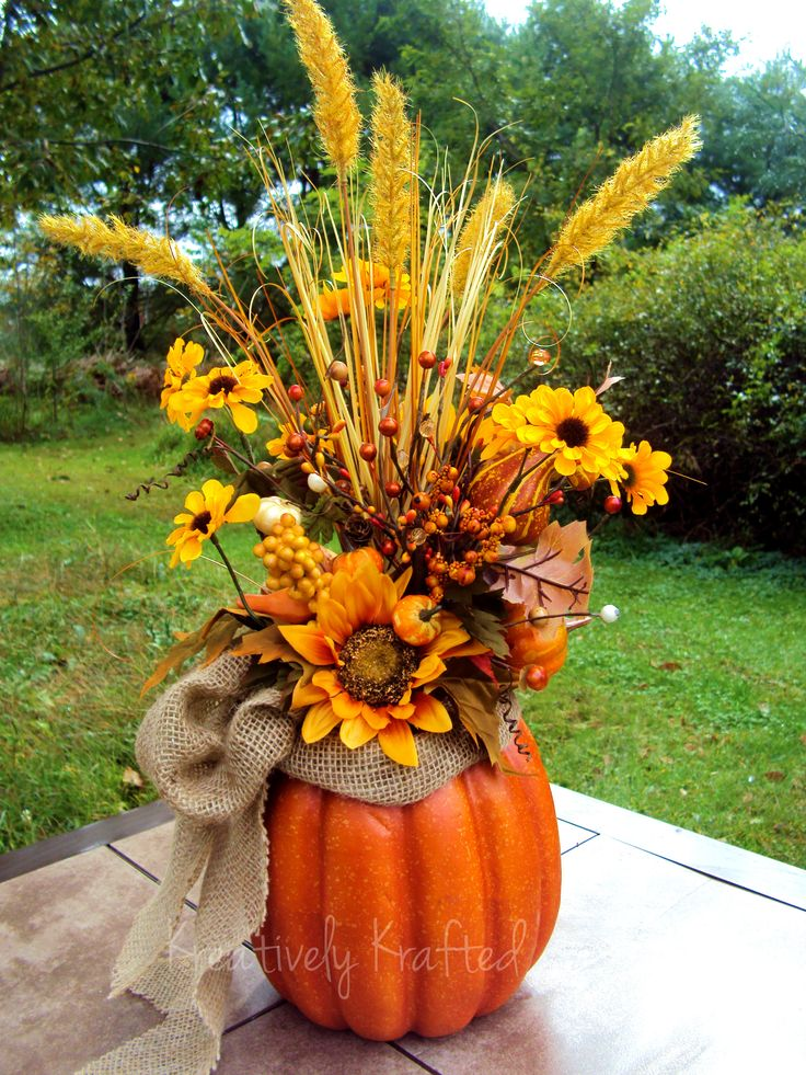 Autumn Fall Thanksgiving pumpkin centerpiece, table flower arrangement. KreativelyKrafted