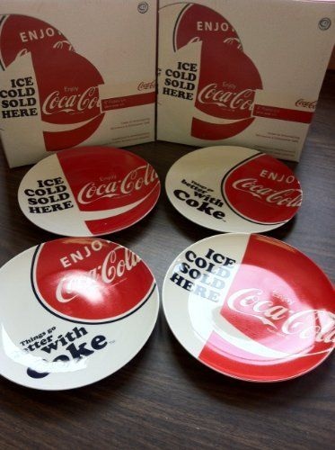 """Coca Cola Ceramic Plates - Set of 4 - Luncheon Salad Dinner - 8 Inch by Pacific Enterprise, LLC. $23.95. 8"""" Diameter. Things go better with Coke (2). Boxed Gift Set of 4. Ice Cold Coke Sold Here (2). Quality Ceramic Plates. Set 4 Coca-Cola design ceramic 8"""" Plates, 2 styles - microwave and dishwasher safe."""