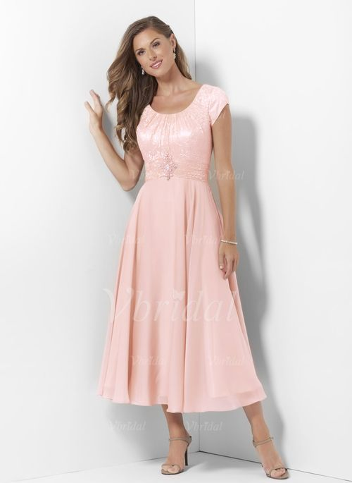 A-Line/Princess Scoop Neck Tea-Length Ruffle Beading Appliques Lace Chiffon Satin Zipper Up Sleeves Short Sleeves No Pearl Pink Spring Summer General Mother of the Bride Dress