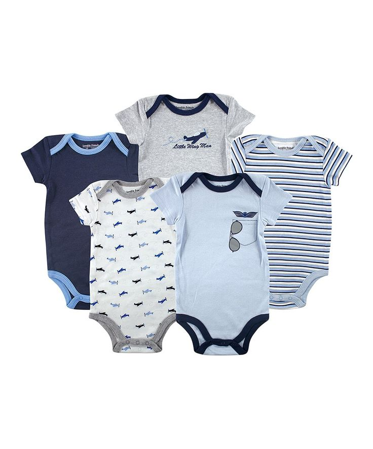 Take a look at this Luvable Friends Blue & Gray 'Little Wing Man' Bodysuit Set - Infant today!