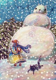 sneeuwkat ★ Nikki Smits uit de zelfgemaakte kerstkaartenwinkel