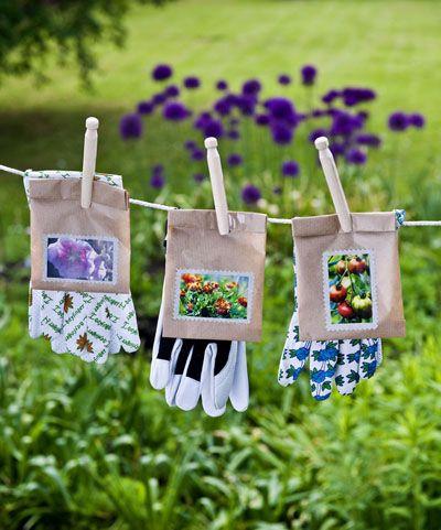 groencadeau zaadjes eigen tuin tuinhandschoen  /  Garden gloves with seeds... a lovely thank you gift.