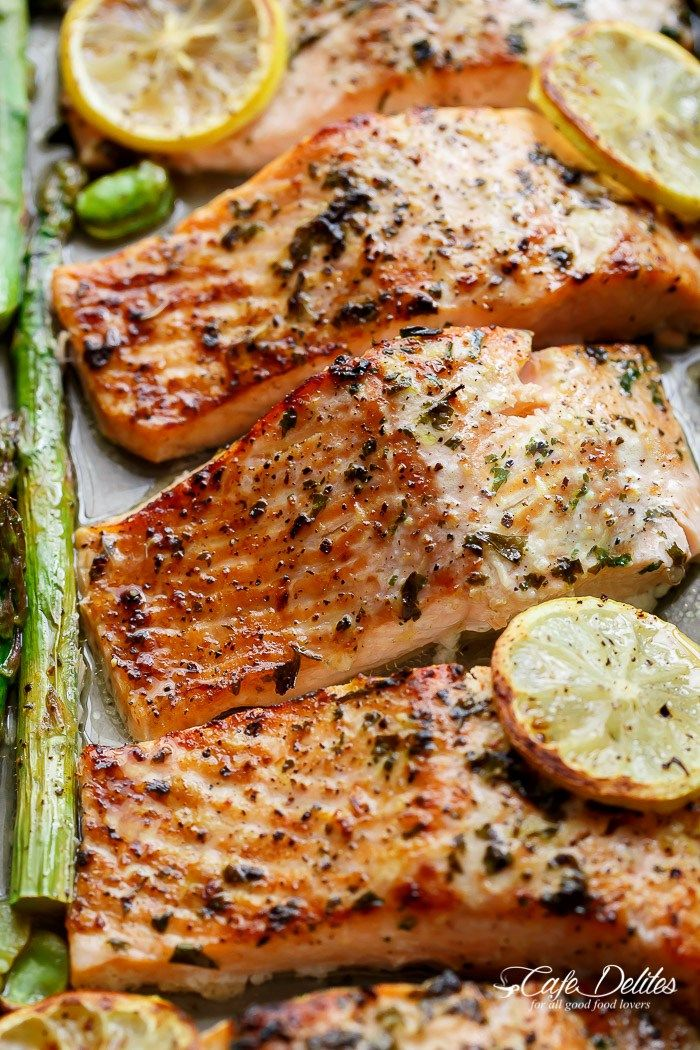 One Pan Lemon Garlic Baked Salmon + Asparagus | http://cafedelites.com