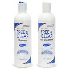Free & Clear Shampoo & Conditioner ($10.49 each) - No perfume, lanolin, dyes, formaldehyde, or parabens - Conditioner has Citric Acid...