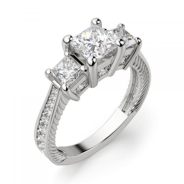626cd66ad34c2 Sage Three Stone Princess Cut Engagement Ring | Weddings & Wedding ...