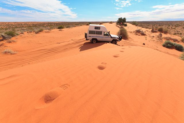 Driving across the Simpson Desert in Australia