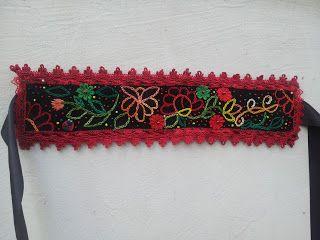 Mirela Mohjazi Handmade: Cordon/brau/curea folclor, cusut , cu flori dantel...