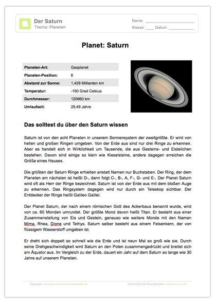 NEU: Sachkunde - Weltall & Planeten: Ein kindgerecht geschriebener Lesetext zum Planeten Saturn.