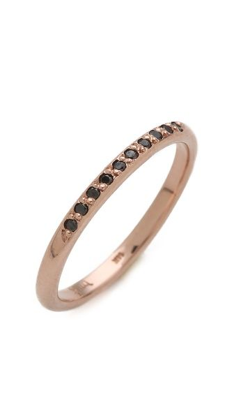 blanca monros gomez Black Diamond Band Ring, rose gold, simple, modern