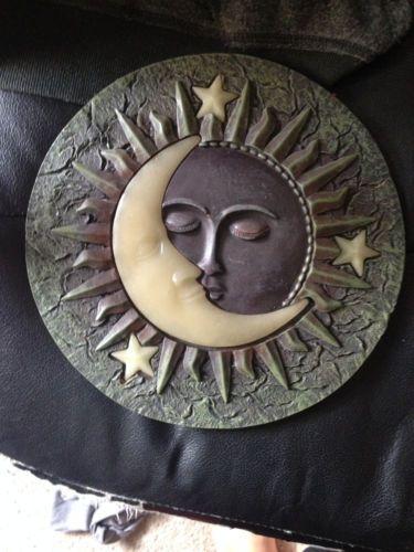 Celestial Crescent Moon and Sun Wall Plaque Outdoor Indoor Garden Patio Sign   eBay