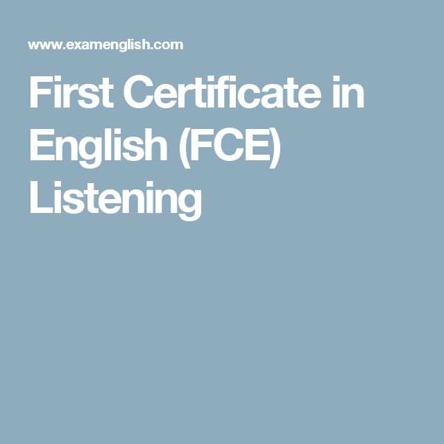 First Certificate in English (FCE) Listening