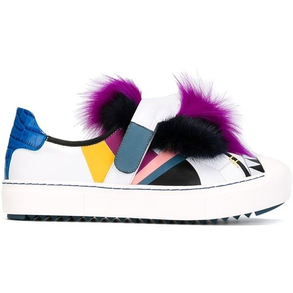Fendi monster fur sneakers (€1.175) ❤ liked on Polyvore featuring shoes, sneakers, white, velcro strap shoes, white sneakers, fur shoes, round toe shoes and rubber sole shoes