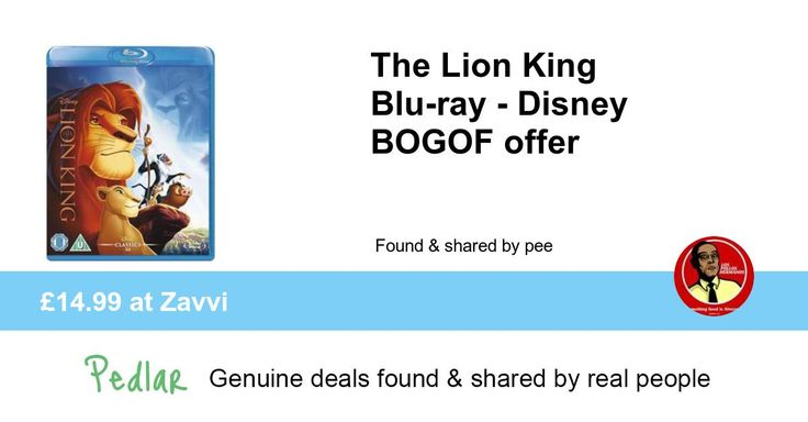 The Lion King Blu-ray - Disney BOGOF offer, £14.99 at Zavvi