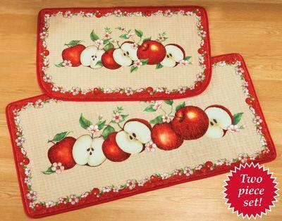 Apple Orchard Cushion Rug Set   2 Pc