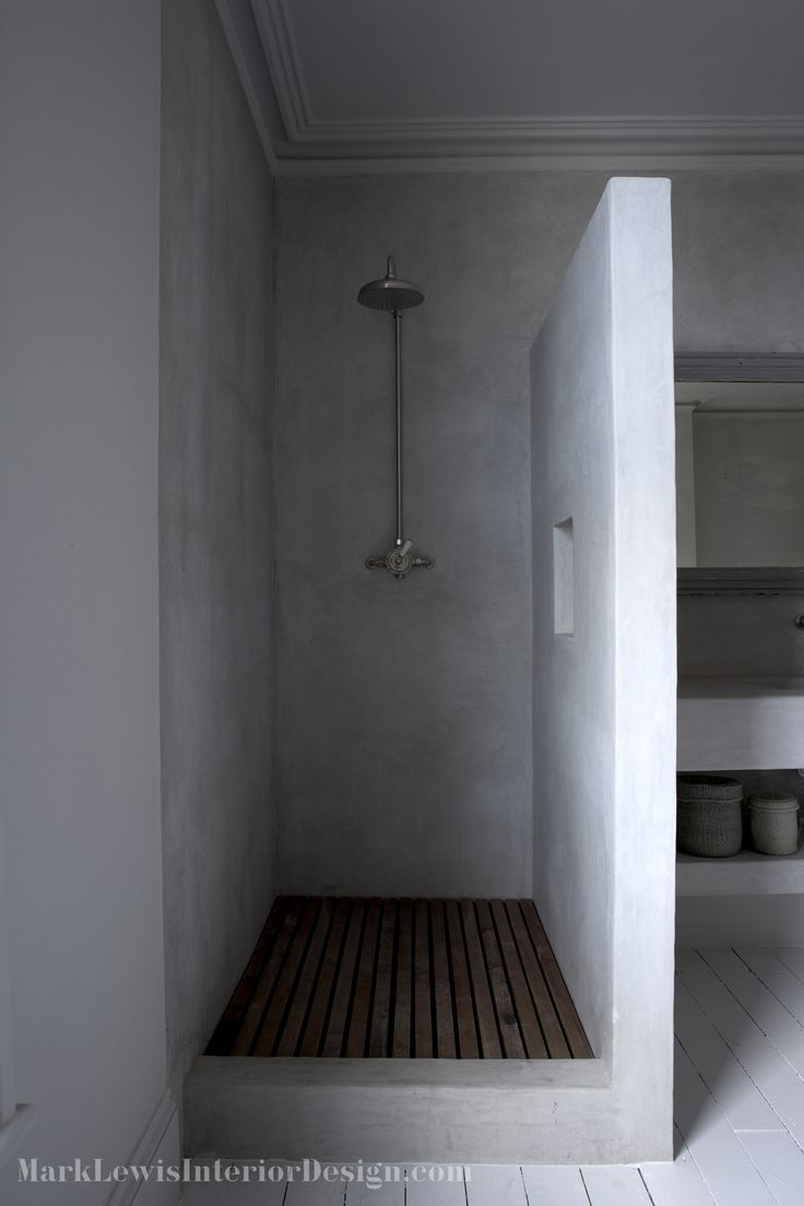 walk in shower with wooden slatted shower tray