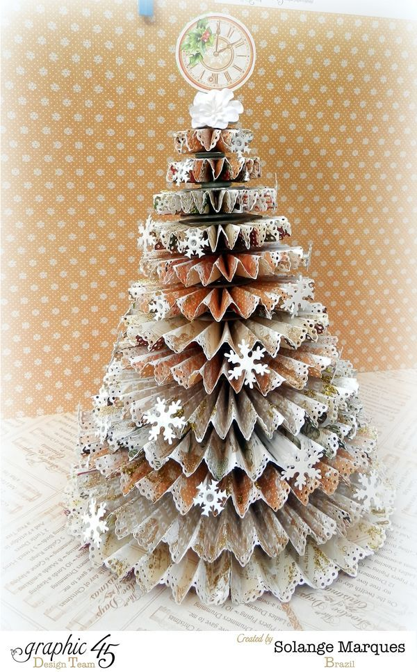 Complete your holiday decor with this rosette tree from Solange! Click for tutorial #graphic45