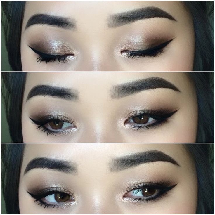 Makeup for Asian eyes. Bright highlight in the inner corners will brighten up your eyes and look more awake