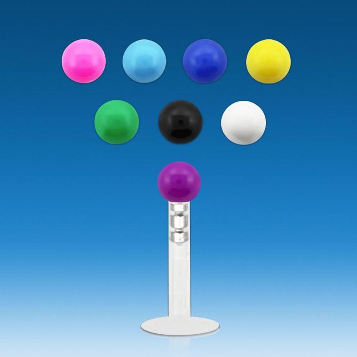 Labret para piercing de labio o de tragus. Ajustable entre 10mm y 6mm de largo. Bola de 2,5mm Grosor 1,2mm. Ideal para usar en piercing de labio o de tragus, 1.89