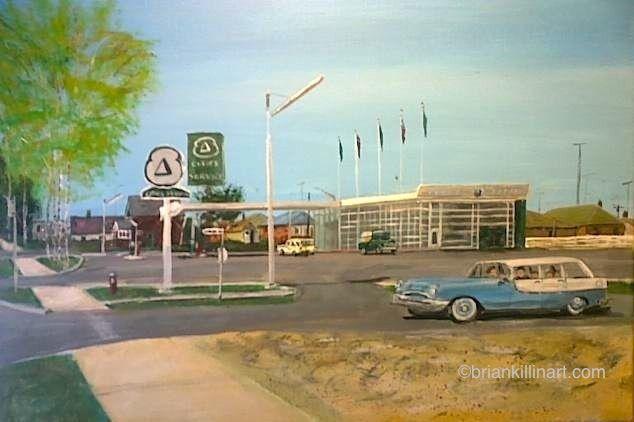 cities service #gasstations #Torontoart briankillinart Etobicoke Queensway Avenue vintage 1958