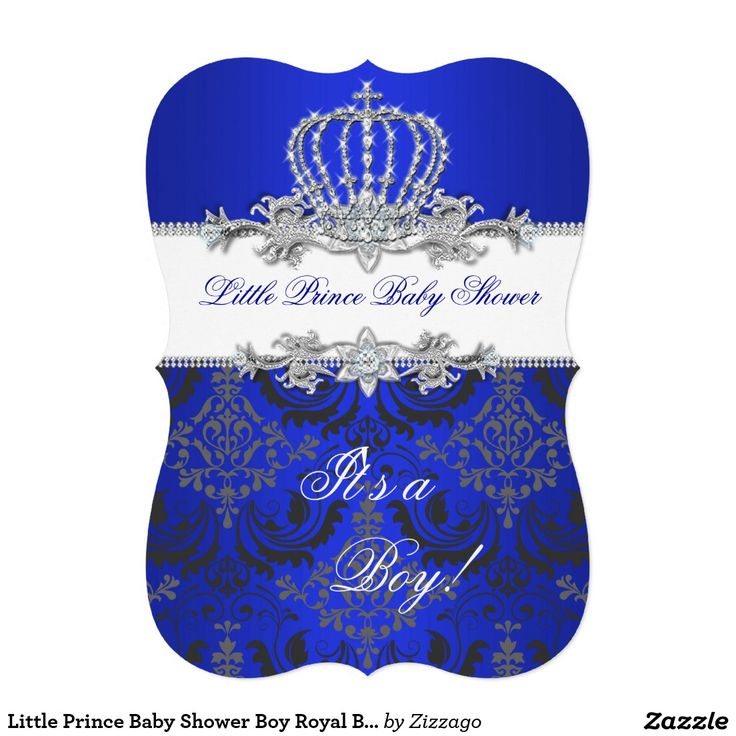 Little Prince Baby Shower Boy Royal Blue Crown 2