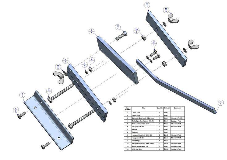 Sheet metal bench shear plan - Parts list