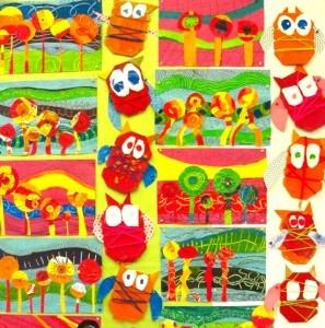 love the kindergarten owls: Art Lessons, For Kids, Art Class, Art Ideas, Art Education, Owls And Hundertwasser, Art Projects