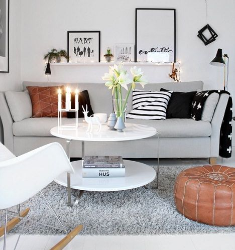 Living room ideas: white black and grey
