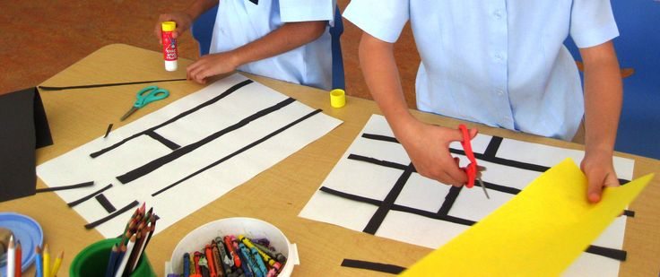 Lines, Geometry and Primary Colors!   Art Lessons For Kids