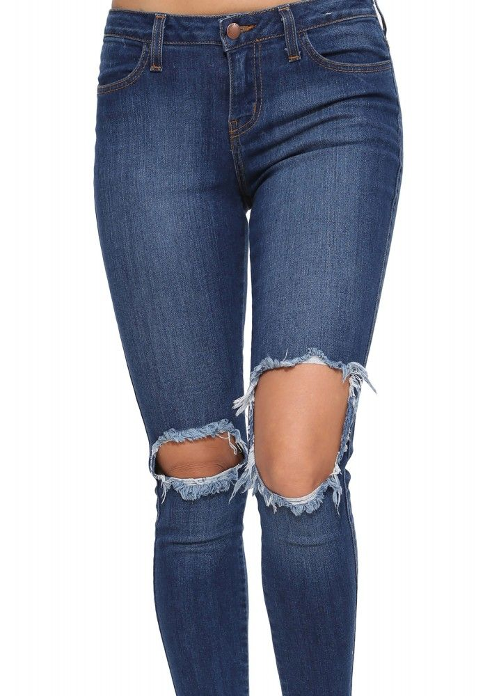 Raw Hem Ripped Jeans in Blue | Necessary Clothing