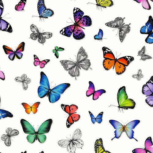 Härligt färgstark fjärilstapet från kollektionen Brooklyn Bridge 138507. Klicka för att se fler inspirerande tapeter för ditt hem!