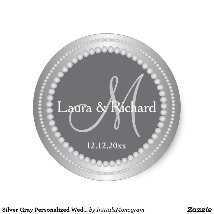Silver gray personalized wedding monogram seals