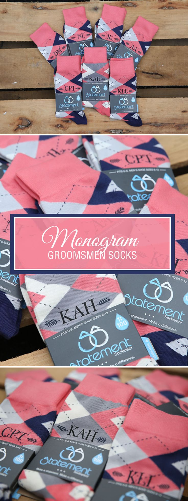 Looking for a way to customize your coral and navy wedding? We are now customizing our most popular wedding colors with wedding dates, wedding text and monograms. Give your groomsmen in your wedding a gift they will never forget that will always remind them of your big wedding day: custom coral groomsmen socks. Shop these coral and navy custom monogram socks and more.